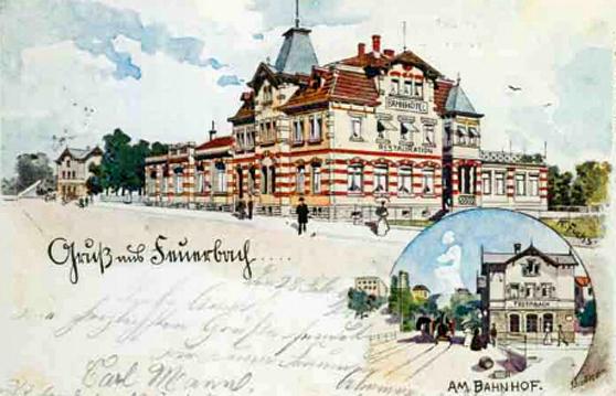 Ein Bild aus der Chronik zeigt eine alte Postkartenansicht des ehem. Bahnhotels am Feuerbacher Bahnhof um die Jahrhundertwende. Hier war damals das Vereinslokal des Feuerbacher GHV.